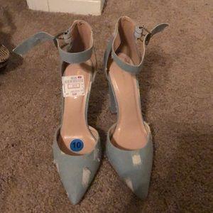 Distressed denim heels